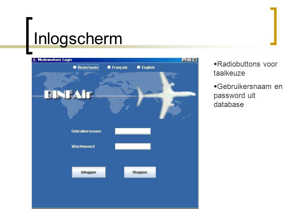 Inlogscherm  Radiobuttons voor taalkeuze  Gebruikersnaam en password uit database