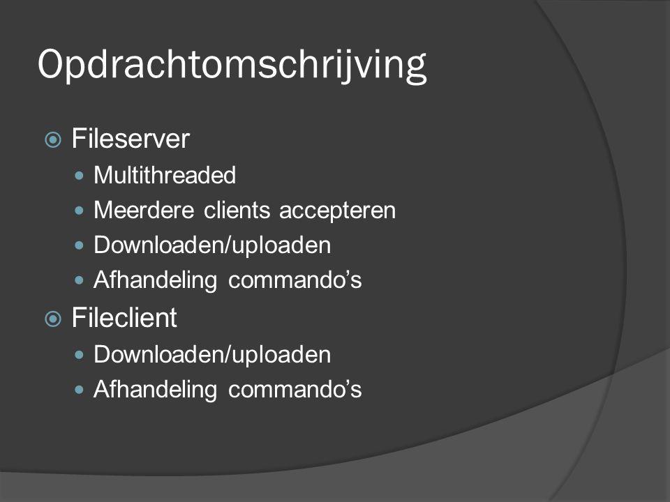 Opdrachtomschrijving  Fileserver Multithreaded Meerdere clients accepteren Downloaden/uploaden Afhandeling commando's  Fileclient Downloaden/uploaden Afhandeling commando's