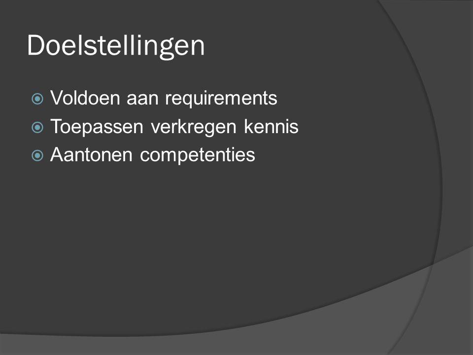 Doelstellingen  Voldoen aan requirements  Toepassen verkregen kennis  Aantonen competenties