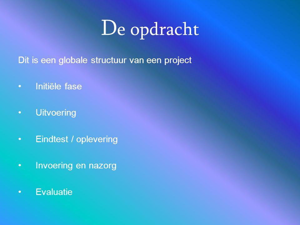 D e opdracht Dit is een globale structuur van een project Initiële fase Uitvoering Eindtest / oplevering Invoering en nazorg Evaluatie