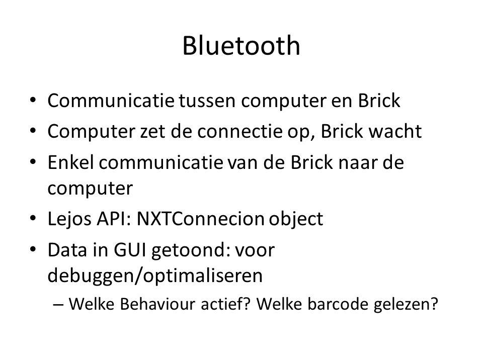 Bluetooth Communicatie tussen computer en Brick Computer zet de connectie op, Brick wacht Enkel communicatie van de Brick naar de computer Lejos API: NXTConnecion object Data in GUI getoond: voor debuggen/optimaliseren – Welke Behaviour actief.