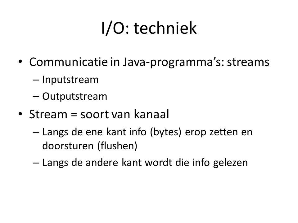 DIS en DOS (1) DataInputStream en DataOutputStream gebruikt : – Strings schrijven op de stream ipv bytes – Ook andere datatypes (bv.