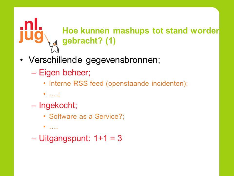 Hoe kunnen mashups tot stand worden gebracht? (1) Verschillende gegevensbronnen; –Eigen beheer; Interne RSS feed (openstaande incidenten); ….; –Ingeko
