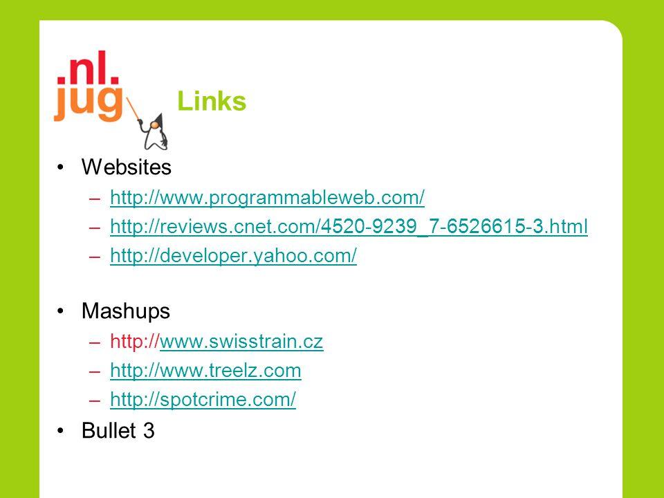 Links Websites –http://www.programmableweb.com/http://www.programmableweb.com/ –http://reviews.cnet.com/4520-9239_7-6526615-3.htmlhttp://reviews.cnet.com/4520-9239_7-6526615-3.html –http://developer.yahoo.com/http://developer.yahoo.com/ Mashups –http://www.swisstrain.czwww.swisstrain.cz –http://www.treelz.comhttp://www.treelz.com –http://spotcrime.com/http://spotcrime.com/ Bullet 3