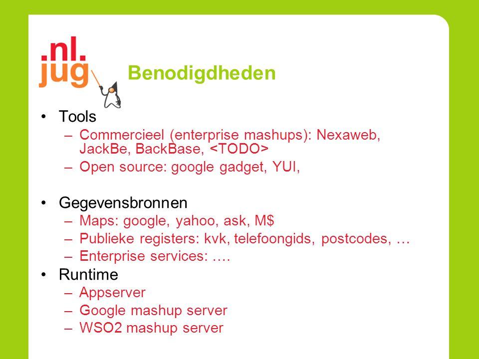 Benodigdheden Tools –Commercieel (enterprise mashups): Nexaweb, JackBe, BackBase, –Open source: google gadget, YUI, Gegevensbronnen –Maps: google, yahoo, ask, M$ –Publieke registers: kvk, telefoongids, postcodes, … –Enterprise services: ….