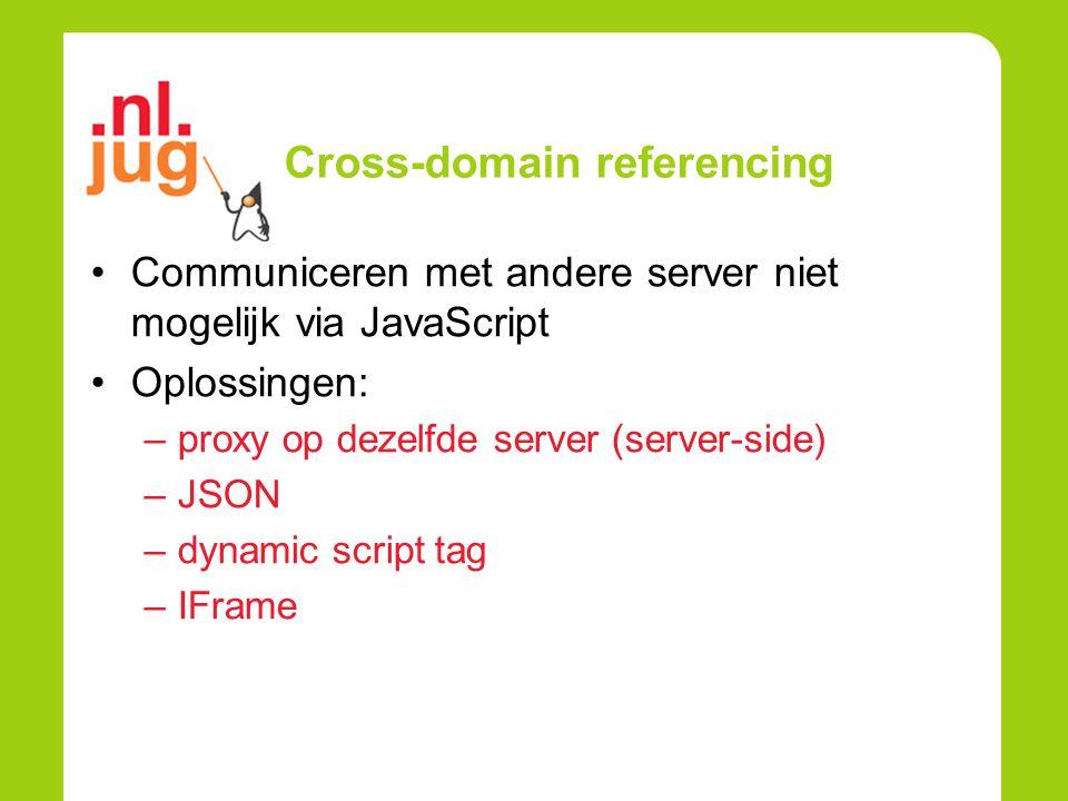Cross-domain referencing Communiceren met andere server niet mogelijk via JavaScript Oplossingen: –proxy op dezelfde server (server-side) –JSON –dynam