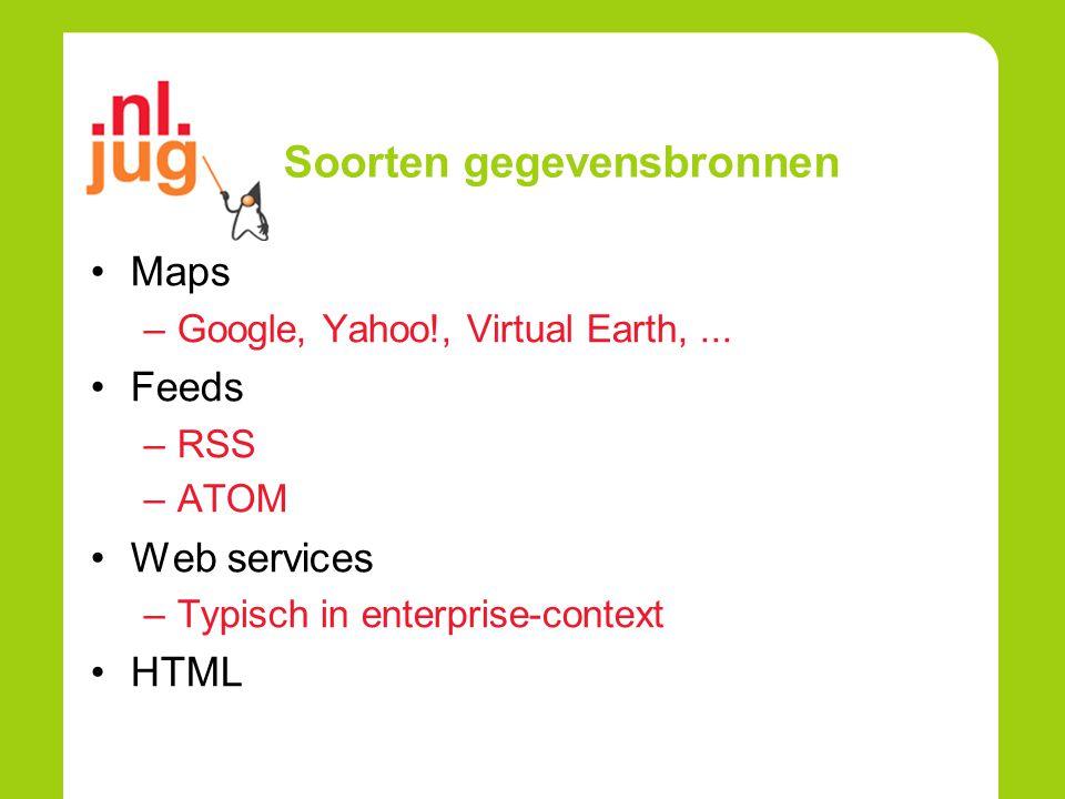 Mashups Server Side Integratie informatie op de server (proxy style).