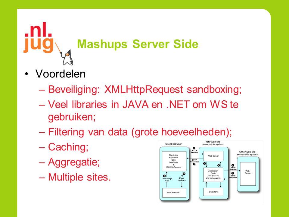 Mashups Server Side Voordelen –Beveiliging: XMLHttpRequest sandboxing; –Veel libraries in JAVA en.NET om WS te gebruiken; –Filtering van data (grote hoeveelheden); –Caching; –Aggregatie; –Multiple sites.