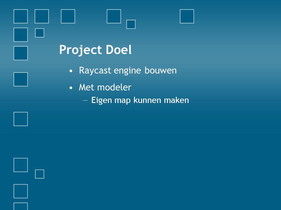 Project Doel Raycast engine bouwen Met modeler − Eigen map kunnen maken