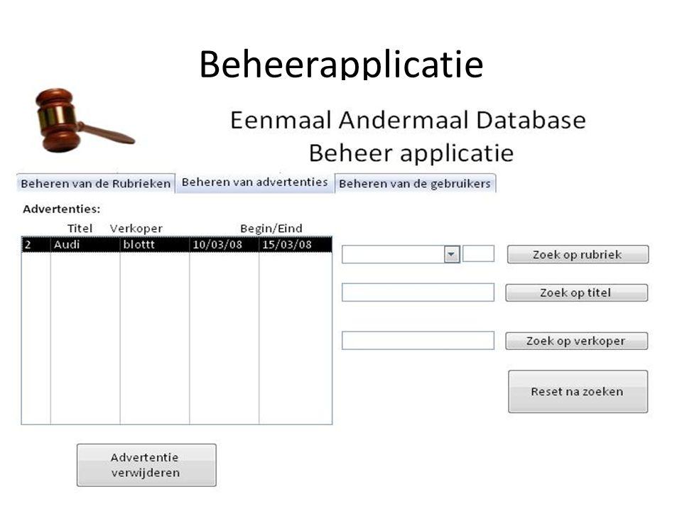 Gebruikers beheren – Systeem toont lijst met ingevoerde gebruikers.