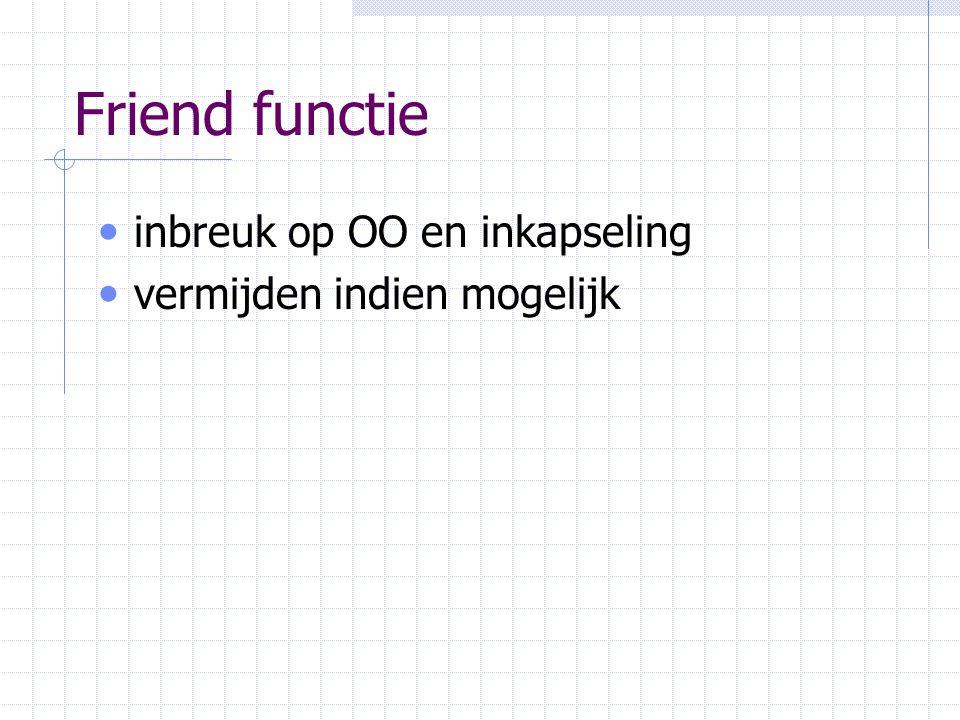 Friend functie inbreuk op OO en inkapseling vermijden indien mogelijk