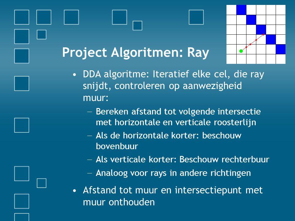 Project Algoritmen: Ray DDA algoritme: Iteratief elke cel, die ray snijdt, controleren op aanwezigheid muur: − Bereken afstand tot volgende intersectie met horizontale en verticale roosterlijn − Als de horizontale korter: beschouw bovenbuur − Als verticale korter: Beschouw rechterbuur − Analoog voor rays in andere richtingen Afstand tot muur en intersectiepunt met muur onthouden