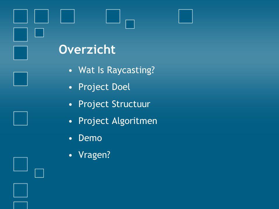 Overzicht Wat Is Raycasting? Project Doel Project Structuur Project Algoritmen Demo Vragen?