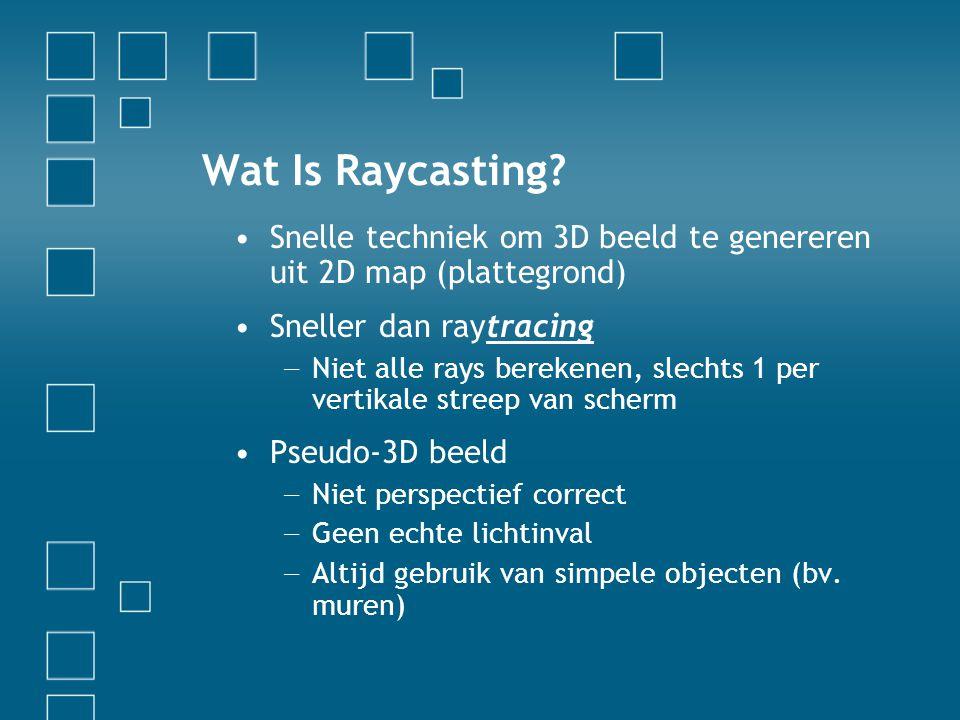 Wat Is Raycasting? Snelle techniek om 3D beeld te genereren uit 2D map (plattegrond) Sneller dan raytracing − Niet alle rays berekenen, slechts 1 per