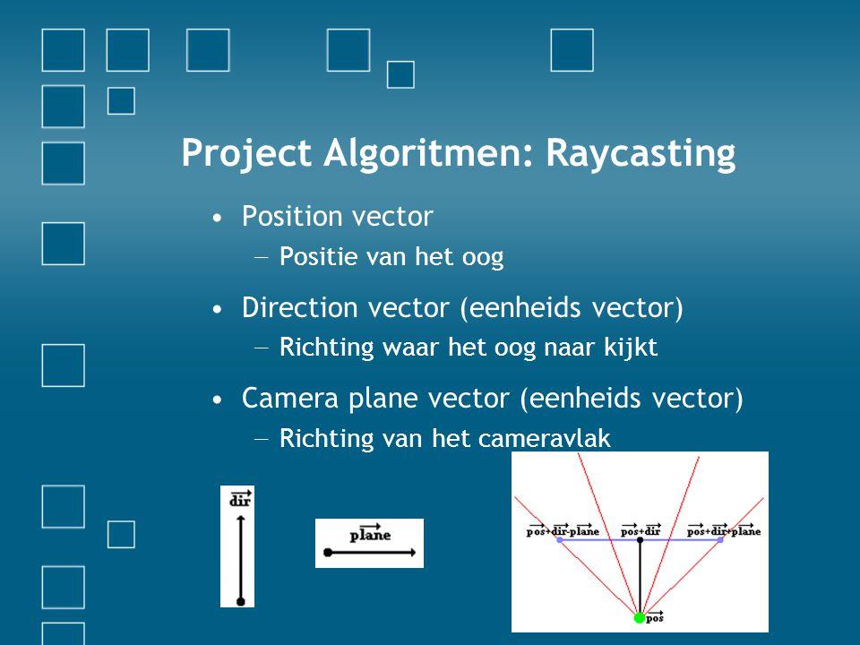 Project Algoritmen: Raycasting Position vector − Positie van het oog Direction vector (eenheids vector) − Richting waar het oog naar kijkt Camera plane vector (eenheids vector) − Richting van het cameravlak