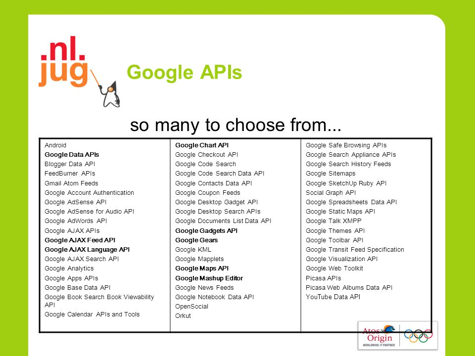 Google APIs so many to choose from...