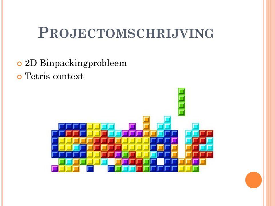P ROJECTOMSCHRIJVING 2D Binpackingprobleem Tetris context