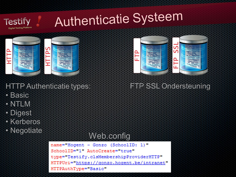Authenticatie Systeem HTTP Authenticatie types: Basic Basic NTLM NTLM Digest Digest Kerberos Kerberos Negotiate Negotiate FTP SSL Ondersteuning Web.config