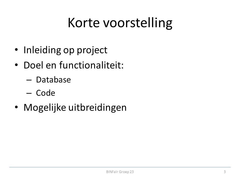 Korte voorstelling Inleiding op project Doel en functionaliteit: – Database – Code Mogelijke uitbreidingen 3BINFair Groep 23