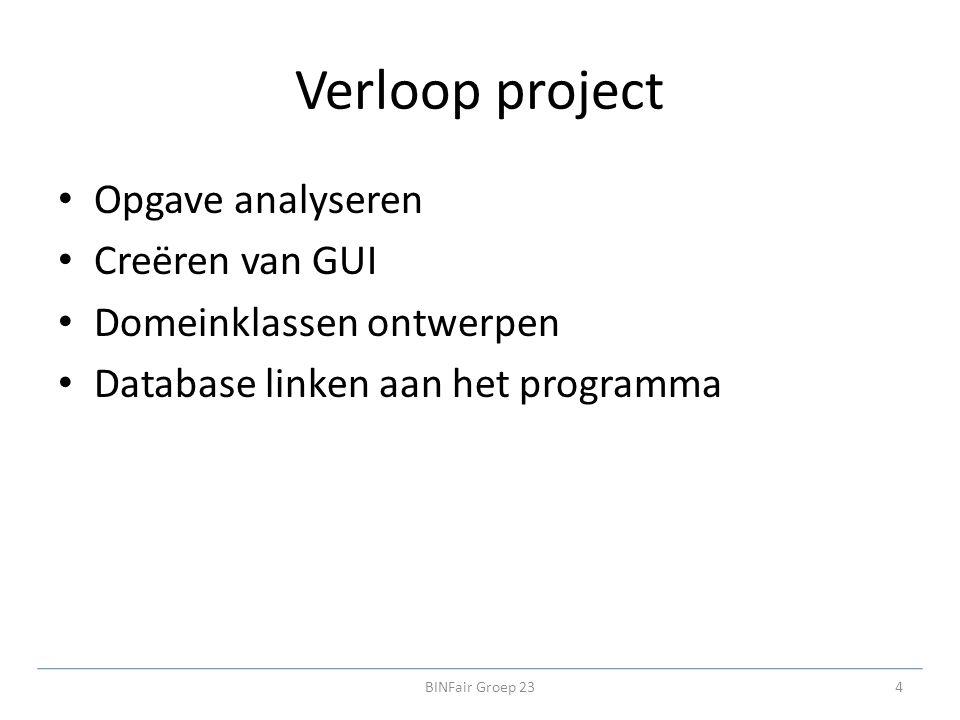 Verloop project Opgave analyseren Creëren van GUI Domeinklassen ontwerpen Database linken aan het programma 4BINFair Groep 23