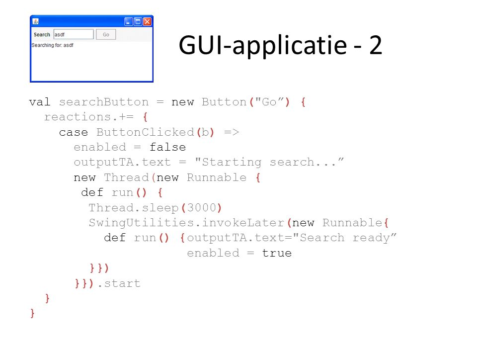 GUI-applicatie - 3 live = searchSequence...