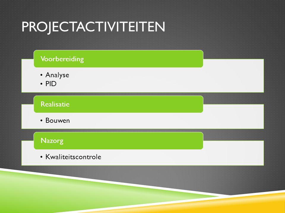 PROJECTACTIVITEITEN Analyse PID Voorbereiding Bouwen Realisatie Kwaliteitscontrole Nazorg