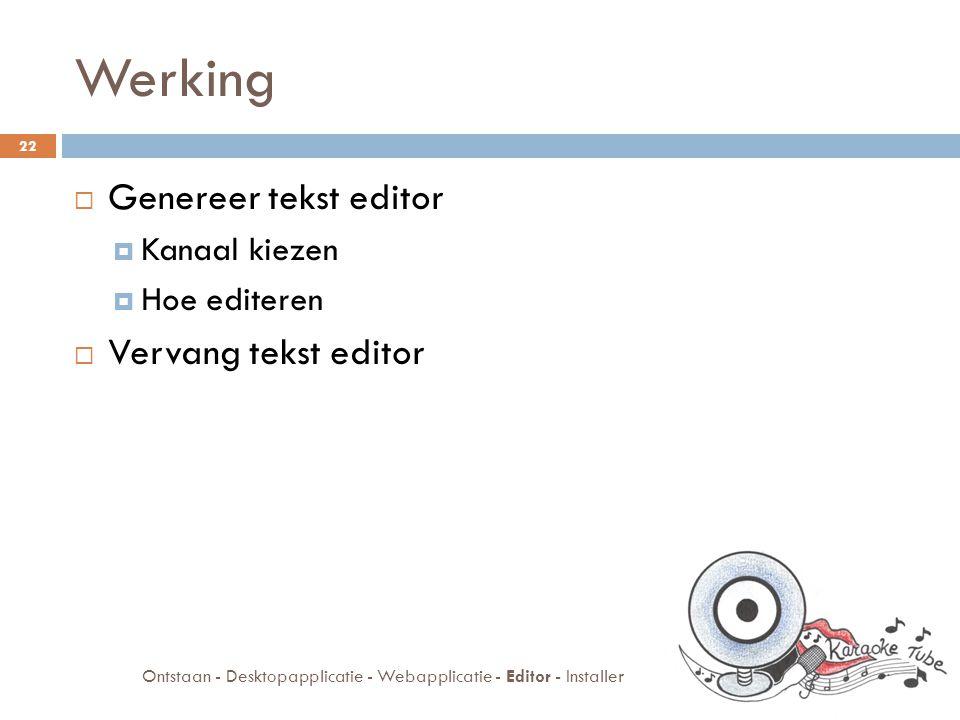 Werking  Genereer tekst editor  Kanaal kiezen  Hoe editeren  Vervang tekst editor 22 Ontstaan - Desktopapplicatie - Webapplicatie - Editor - Installer