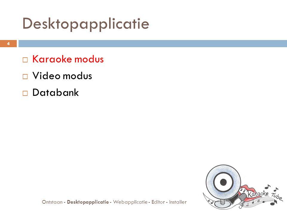 Karaoke modus  Liedjes zingen  Diavoorstelling  Afbeeldingen ophalen  Google afbeeldingen  Databank onafhankelijk 5 Ontstaan - Desktopapplicatie - Webapplicatie - Editor - Installer