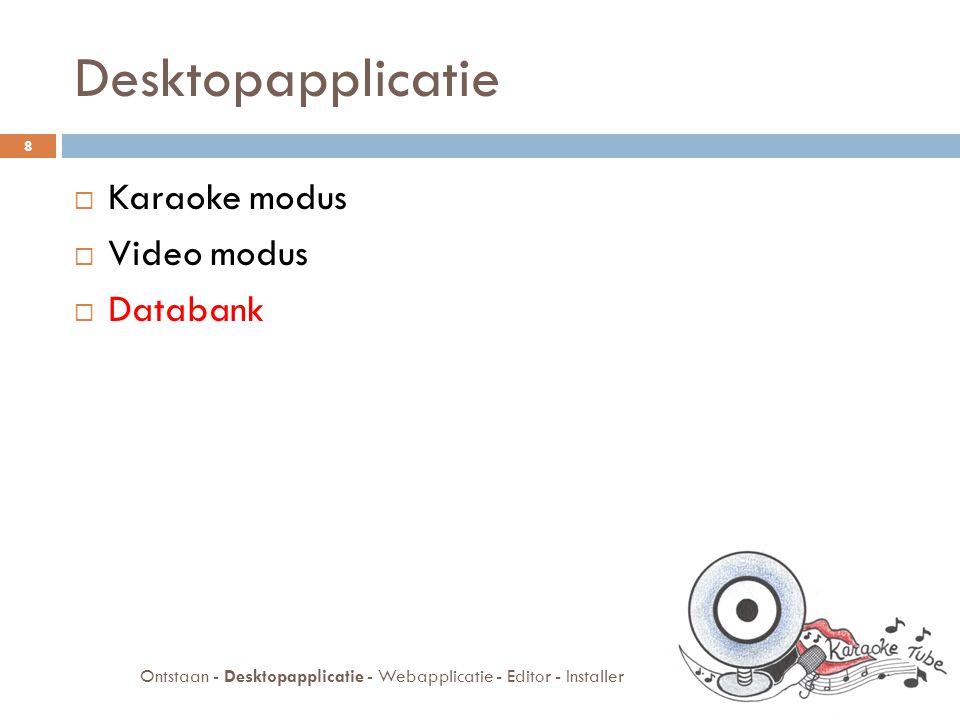 Databank  Afspeellijsten  JDBC: ophalen  XML: wegschrijven  Zoeksysteem 9 Ontstaan - Desktopapplicatie - Webapplicatie - Editor - Installer