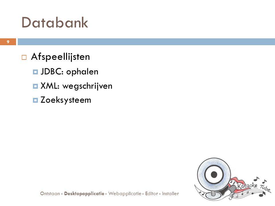 Databank Ontstaan - Desktopapplicatie - Webapplicatie - Editor - Installer