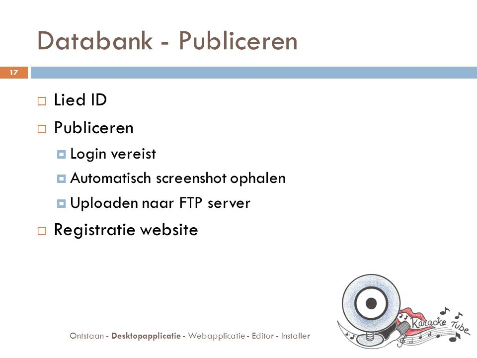 Databank - Publiceren  Lied ID  Publiceren  Login vereist  Automatisch screenshot ophalen  Uploaden naar FTP server  Registratie website 17 Ontstaan - Desktopapplicatie - Webapplicatie - Editor - Installer