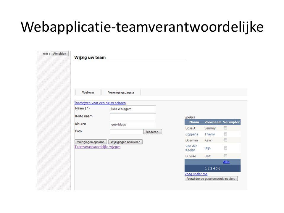 Webapplicatie-teamverantwoordelijke