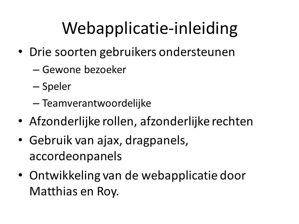 Webapplicatie-inleiding Drie soorten gebruikers ondersteunen – Gewone bezoeker – Speler – Teamverantwoordelijke Afzonderlijke rollen, afzonderlijke re