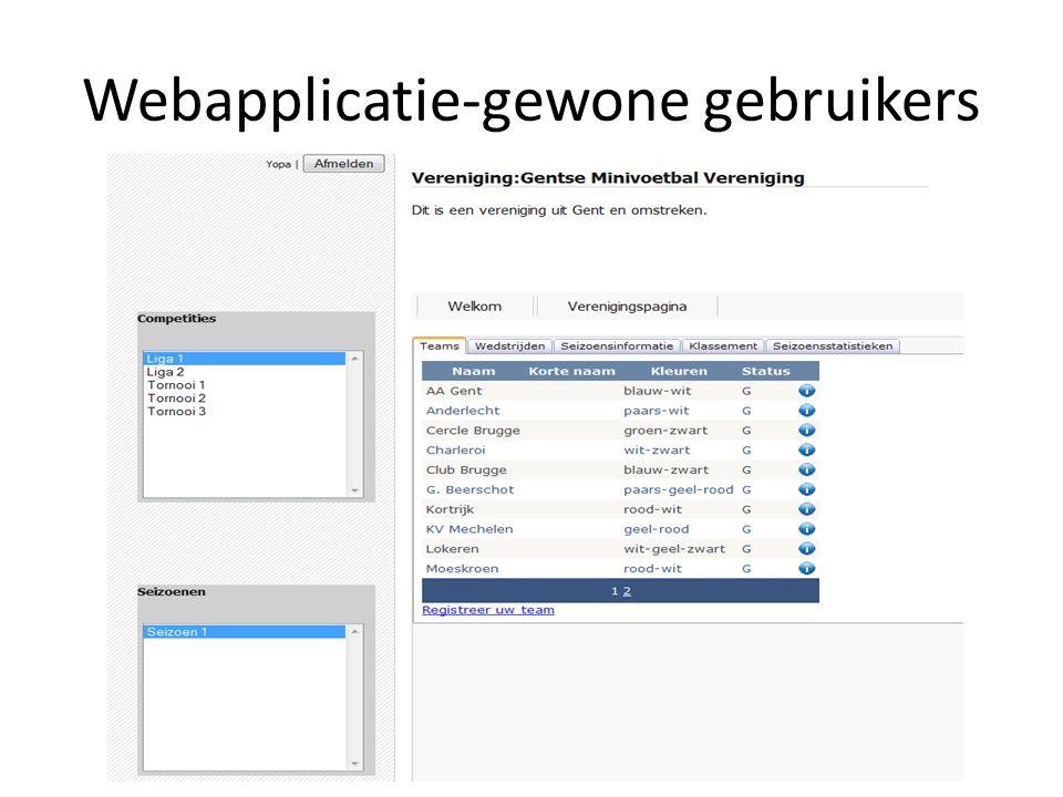 Webapplicatie-gewone gebruikers