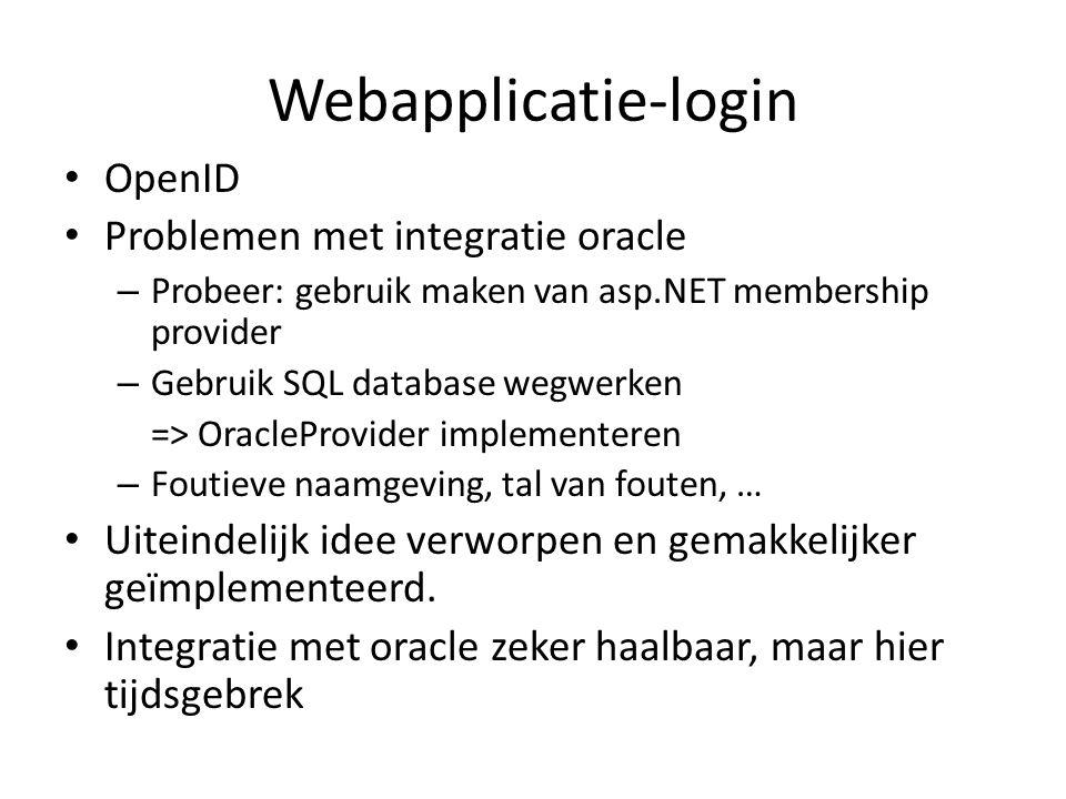 Webapplicatie-login OpenID Problemen met integratie oracle – Probeer: gebruik maken van asp.NET membership provider – Gebruik SQL database wegwerken =