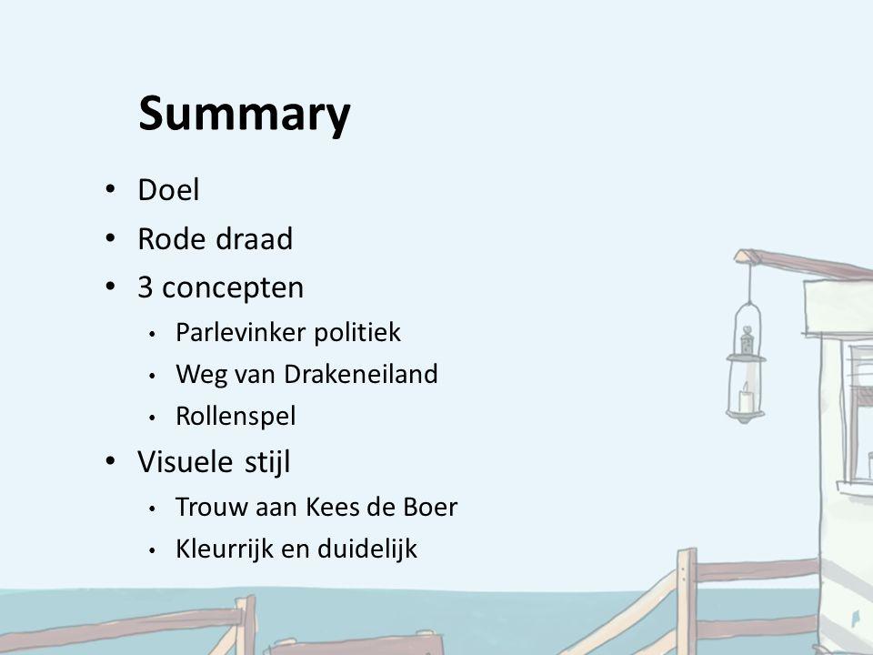 Summary Doel Rode draad 3 concepten Parlevinker politiek Weg van Drakeneiland Rollenspel Visuele stijl Trouw aan Kees de Boer Kleurrijk en duidelijk