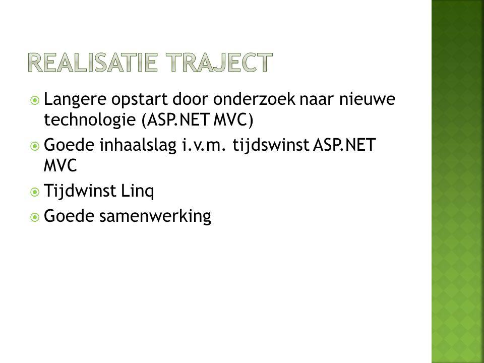  Langere opstart door onderzoek naar nieuwe technologie (ASP.NET MVC)  Goede inhaalslag i.v.m. tijdswinst ASP.NET MVC  Tijdwinst Linq  Goede samen