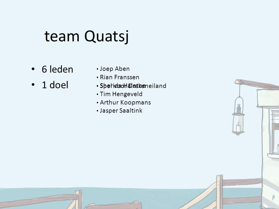team Quatsj 6 leden 1 doel Joep Aben Rian Franssen Sherida Halatoe Tim Hengeveld Arthur Koopmans Jasper Saaltink Spel voor Drakeneiland