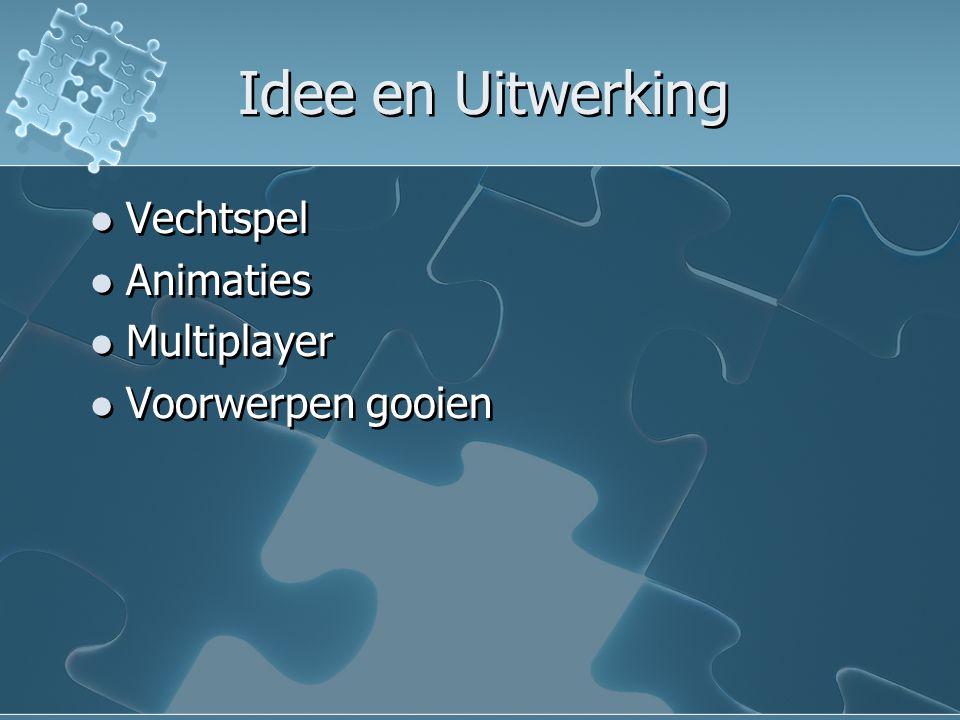 Idee en Uitwerking Vechtspel Animaties Multiplayer Voorwerpen gooien Vechtspel Animaties Multiplayer Voorwerpen gooien