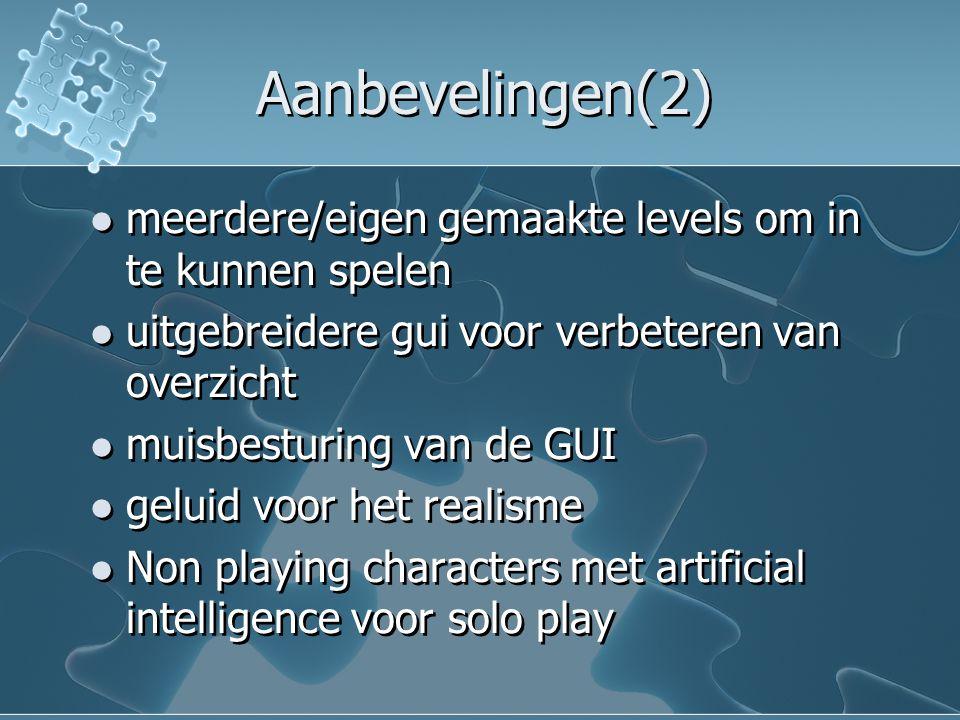 Aanbevelingen(2) meerdere/eigen gemaakte levels om in te kunnen spelen uitgebreidere gui voor verbeteren van overzicht muisbesturing van de GUI geluid