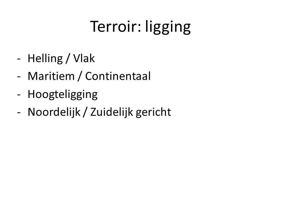 Terroir: ligging -Helling / Vlak -Maritiem / Continentaal -Hoogteligging -Noordelijk / Zuidelijk gericht