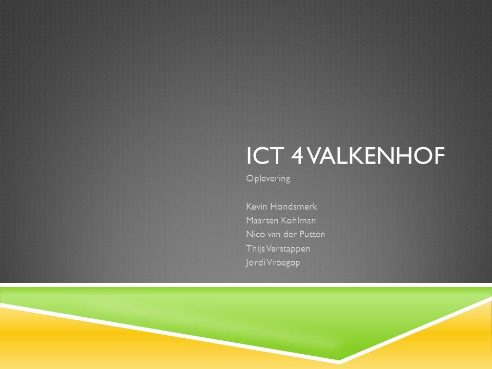 ICT 4 VALKENHOF Oplevering Kevin Hondsmerk Maarten Kohlman Nico van der Putten Thijs Verstappen Jordi Vroegop