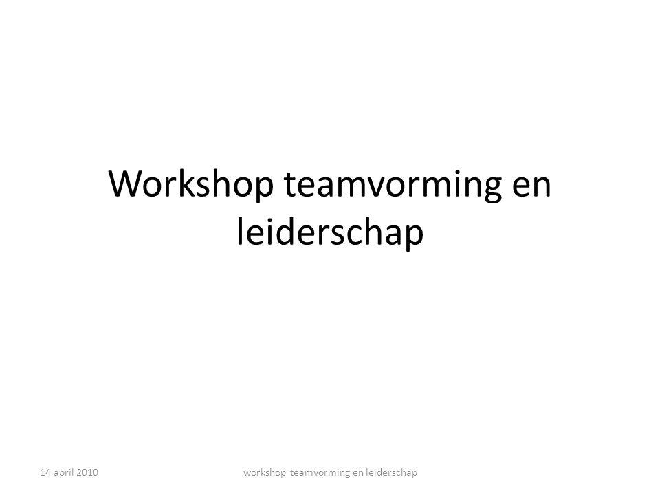 14 april 2010workshop teamvorming en leiderschap groepsontwikkeling relatiegericht gedrag Team Intern gericht Wij gevoel Normen en presteren Groep Subgroepjes Stormen en normen Team extern gerichtLos Zand Individuen Vormen taakgericht gedrag