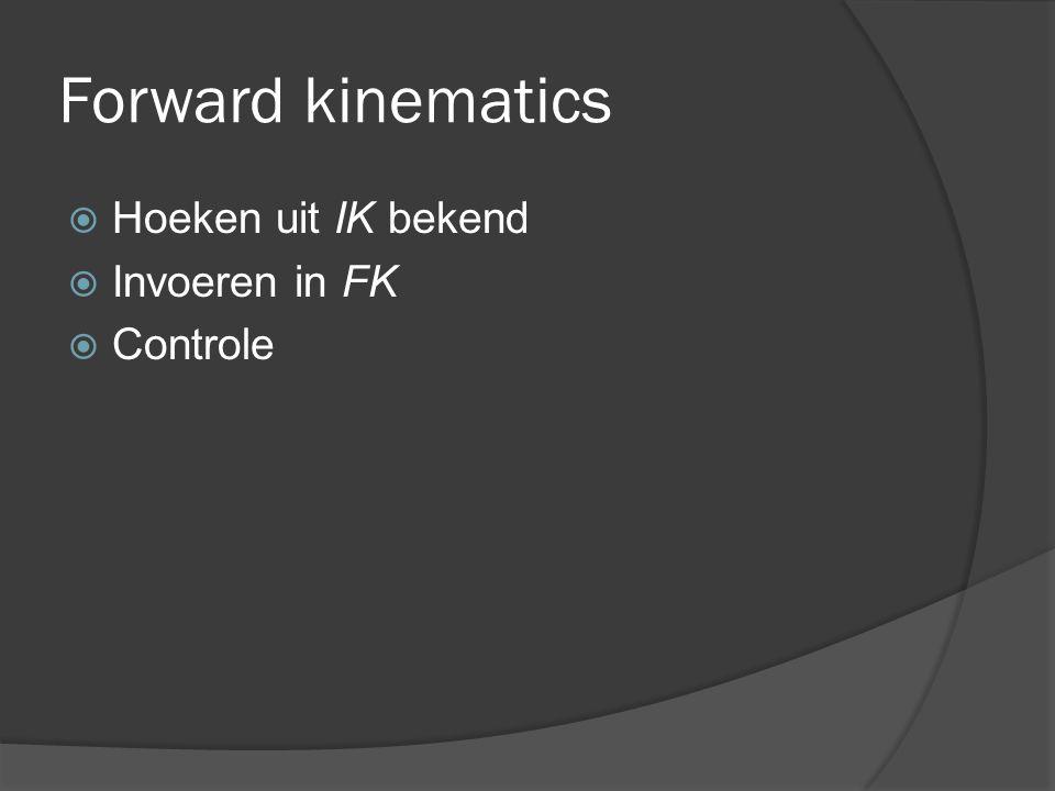 Forward kinematics  Hoeken uit IK bekend  Invoeren in FK  Controle
