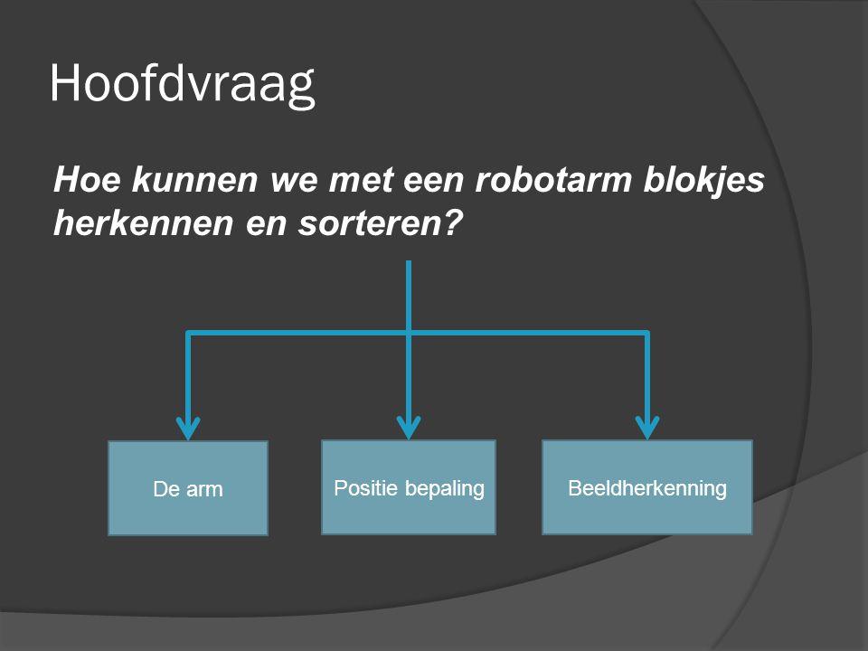 Hoofdvraag Hoe kunnen we met een robotarm blokjes herkennen en sorteren? De arm Positie bepalingBeeldherkenning