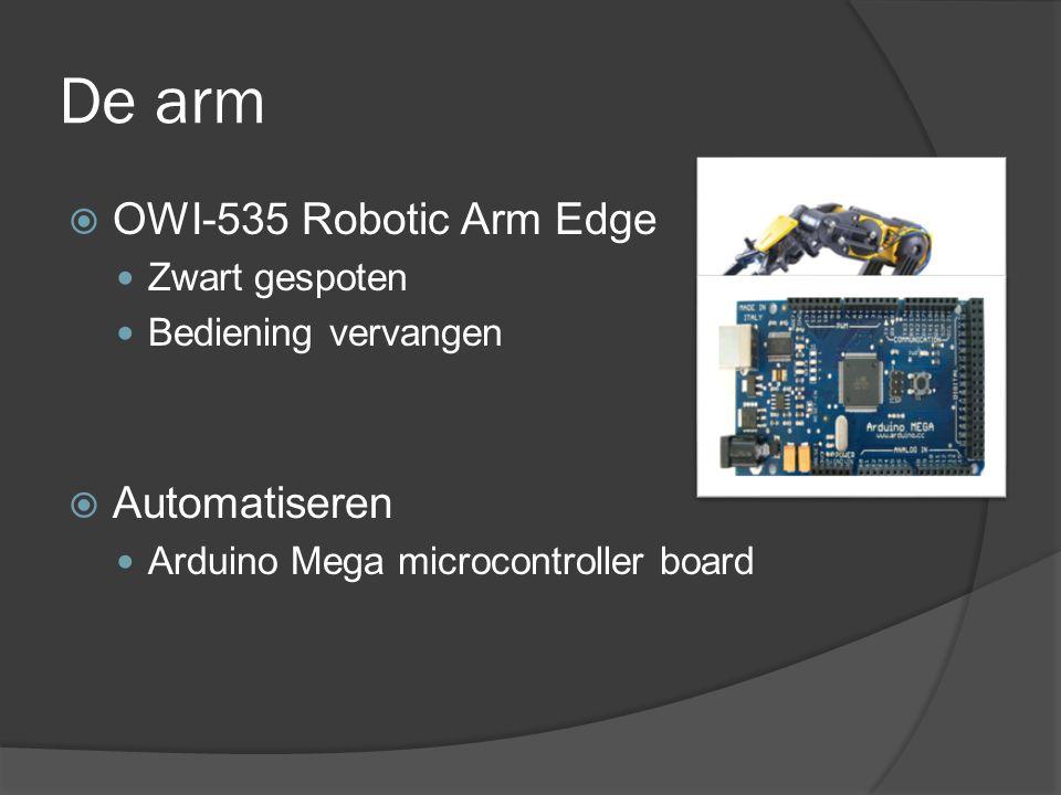 De arm  OWI-535 Robotic Arm Edge Zwart gespoten Bediening vervangen  Automatiseren Arduino Mega microcontroller board