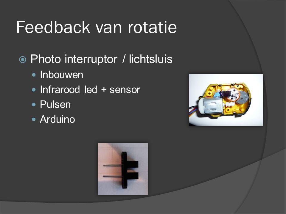 Feedback van rotatie  Photo interruptor / lichtsluis Inbouwen Infrarood led + sensor Pulsen Arduino