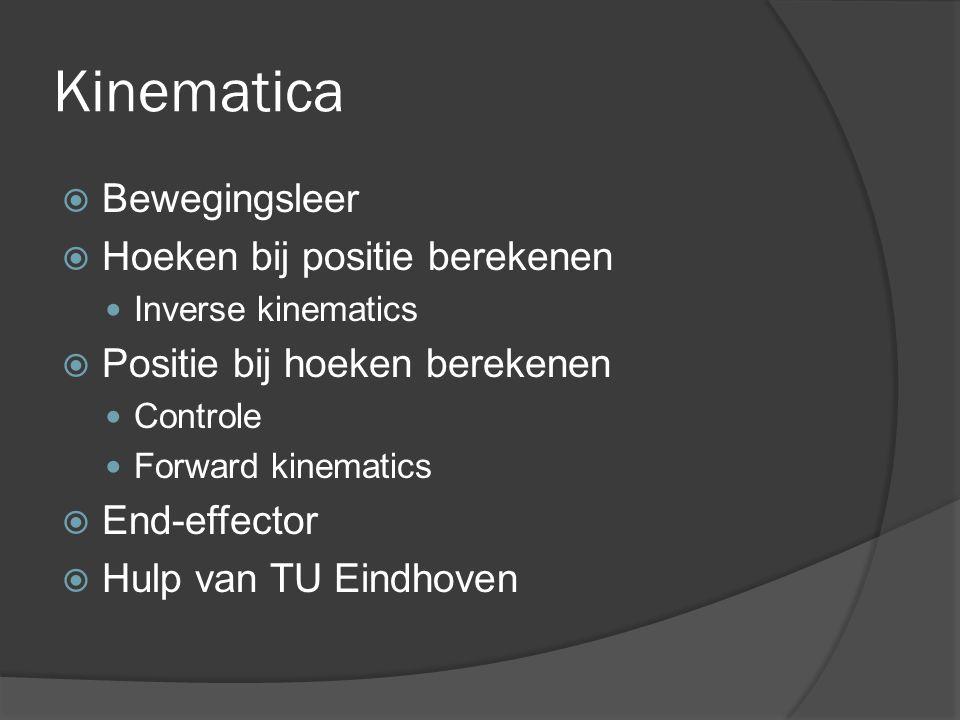 Kinematica  Bewegingsleer  Hoeken bij positie berekenen Inverse kinematics  Positie bij hoeken berekenen Controle Forward kinematics  End-effector