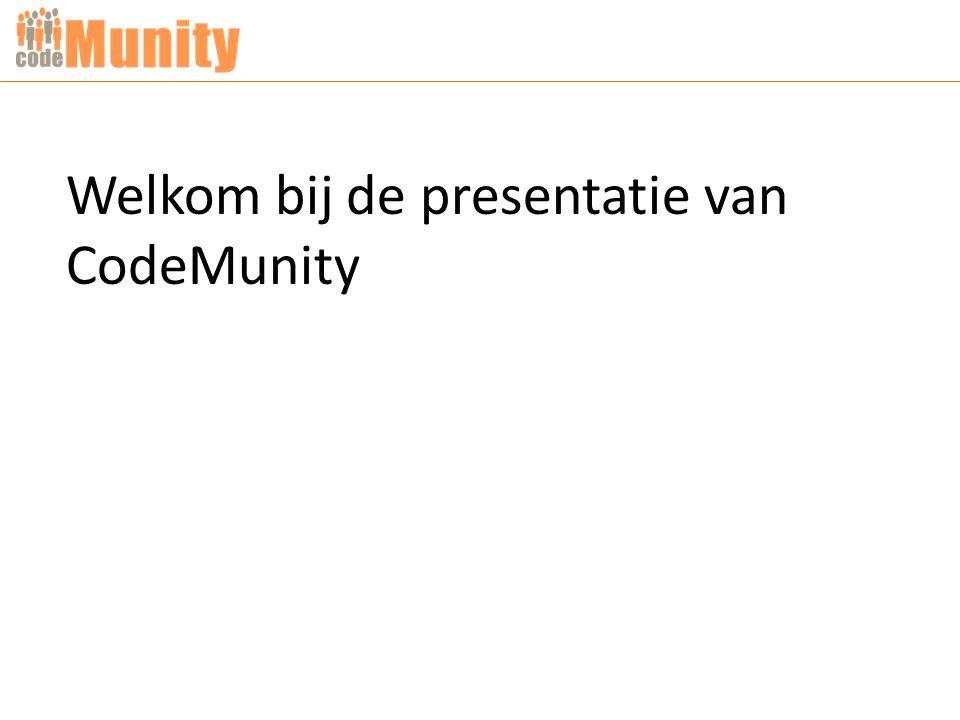 Welkom bij de presentatie van CodeMunity