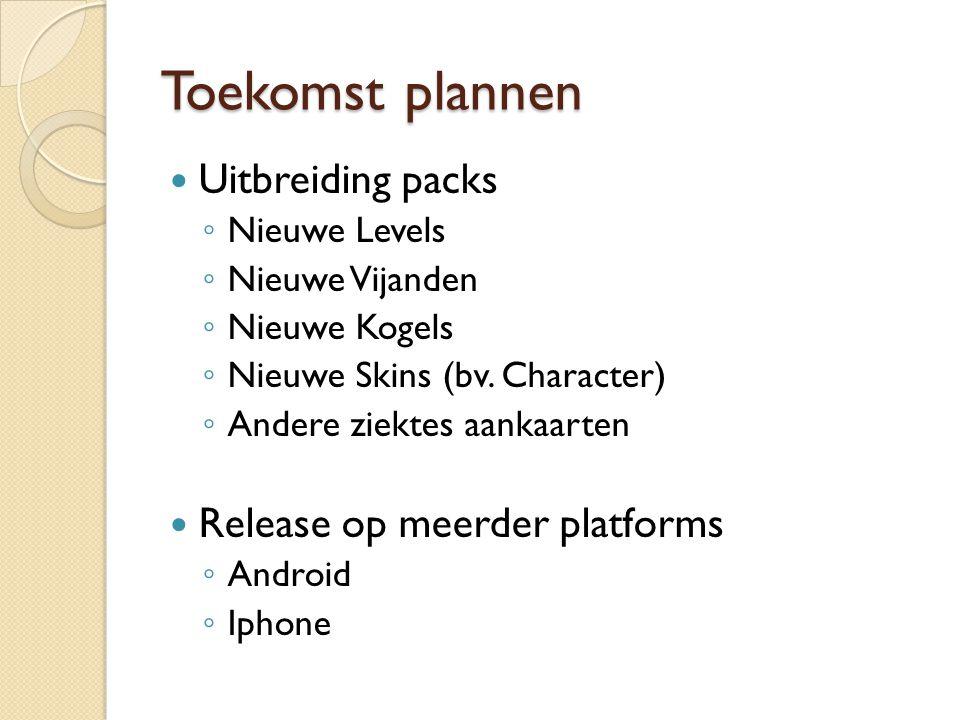Toekomst plannen Uitbreiding packs ◦ Nieuwe Levels ◦ Nieuwe Vijanden ◦ Nieuwe Kogels ◦ Nieuwe Skins (bv. Character) ◦ Andere ziektes aankaarten Releas